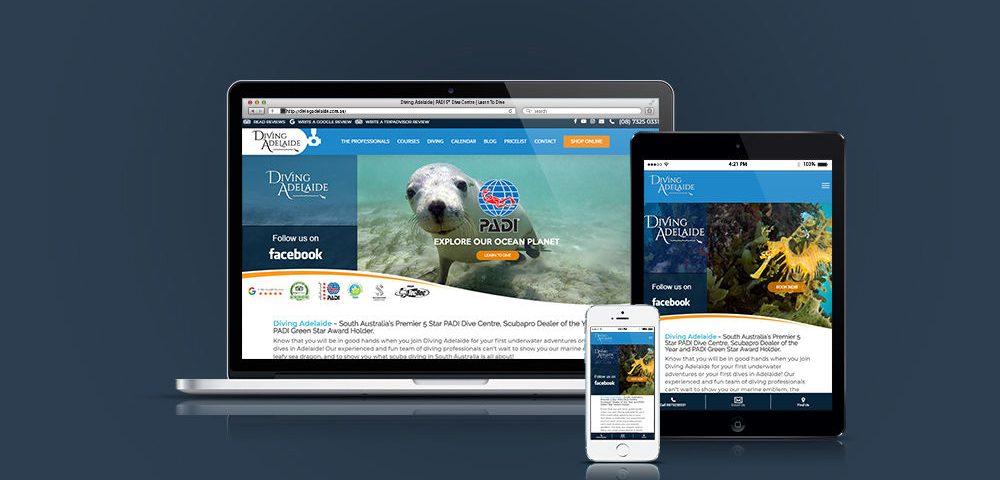 Diving Adelaide website - Responsive Website Mockup