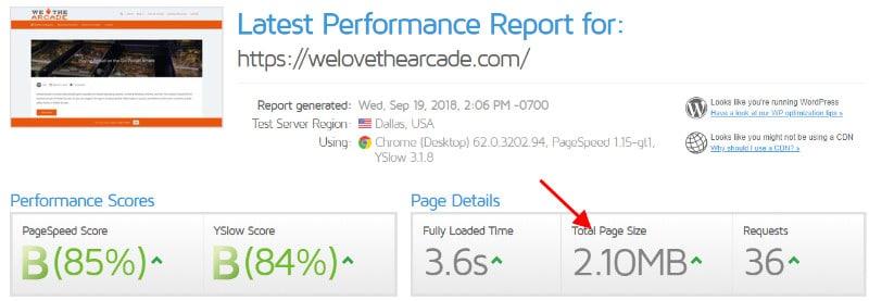 GTmetrix speed test results